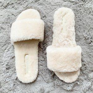 Rebecca Minkoff Palah Sheepskin Sandal Cream sz 8